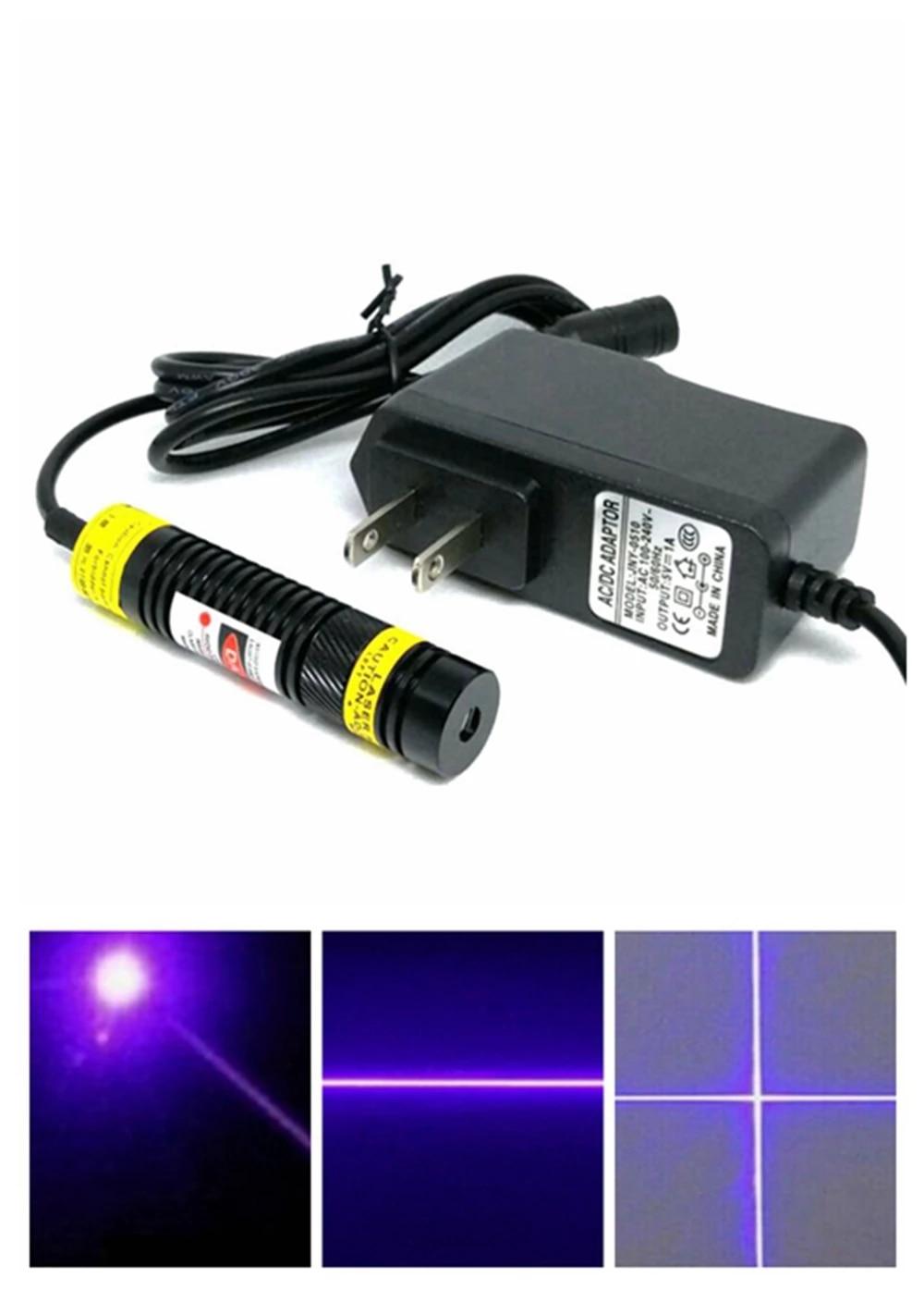 Dot% 2FLine% 2FCross Регулируемый 405 нм 200 мВт Лазер Диод Модуль 16x68 мм High Power Light с адаптером
