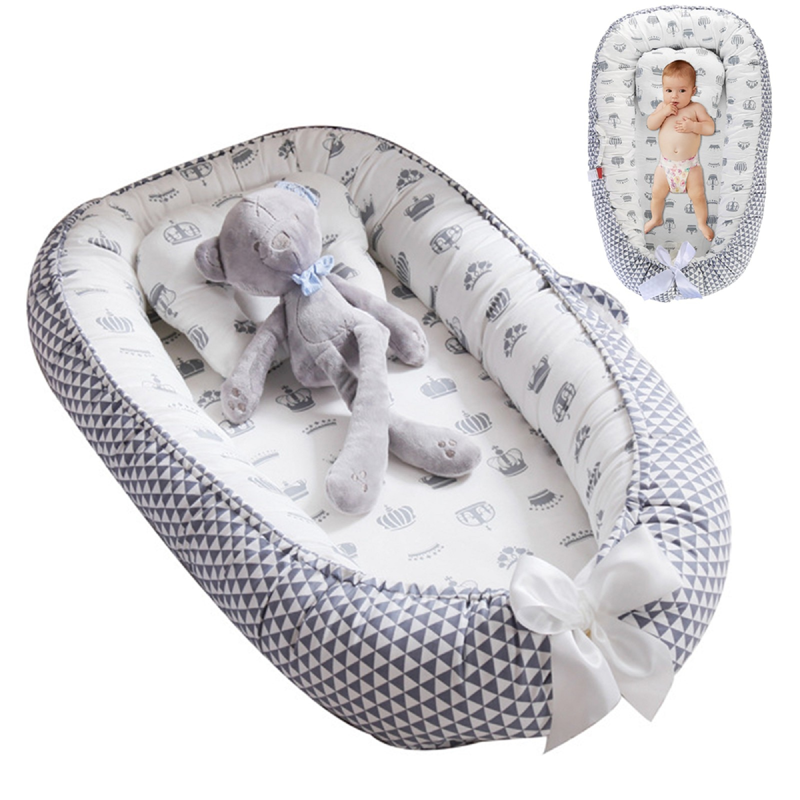 53 * 88cm 0-1Y Cotton Crib Baby Lounger For 0-1Y Baby Bassinet Co-Sleeping Hypoallergenic Washable Portable Bed