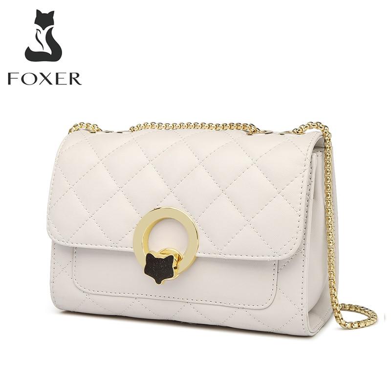 FOXER جلد البقر جلد النساء Crossbody حقيبة كتف شيك شعرية رفرف حقيبة الإناث عالية الجودة حقيبة ساع صغيرة السفر محفظة