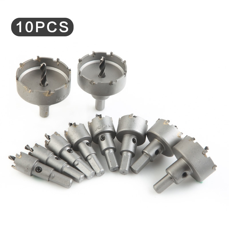 16-53mm 10pcs HSS Hole Saw Set Tungsten Carbide Tip TCT Core Drill Bit Hole Saw for Metal Stainless Steel Cutter Hole Openner