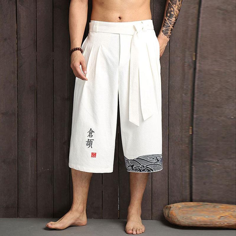 Kimono japonés pantalones tradicionales hombres ropa asiática pantalones de baño estilo japonés Casual suelto masculino Yukata Pantalones de lino recortado