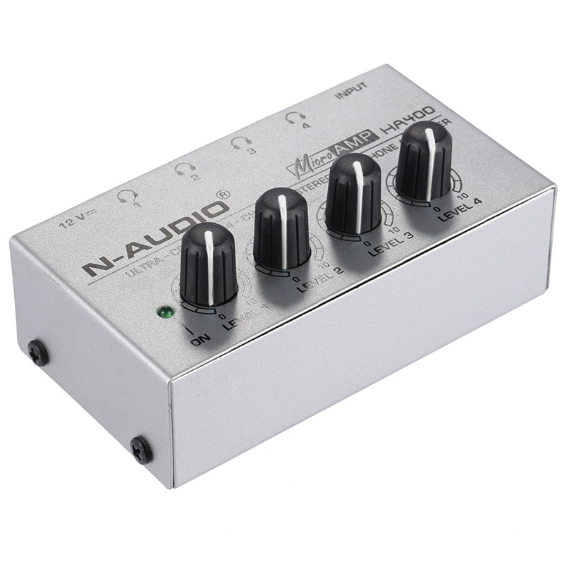 Power HA400 Headphone Amplifier 4 Channels Mini Audio Stereo with Power Adapter for Music mixer Recording studio monitoring enlarge