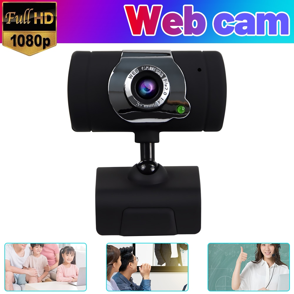 HD Webcam Camera HD Webcam Desktop Laptop USB Web Camera 1080P Web Cam CMOS Sensor with Built-in Microphone for Video Calling