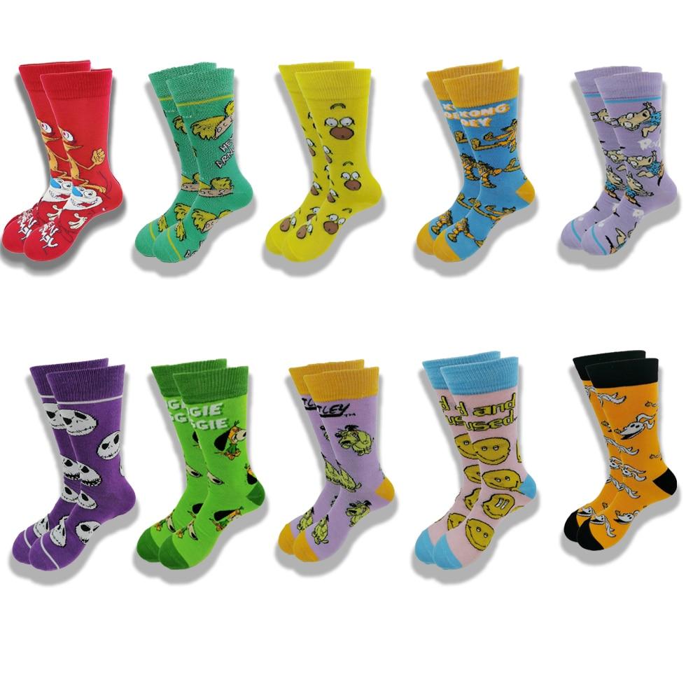 Пара осенне-зимних мужских и женских носков модные Мультяшные Веселые новые качественные мягкие и удобные короткие носки