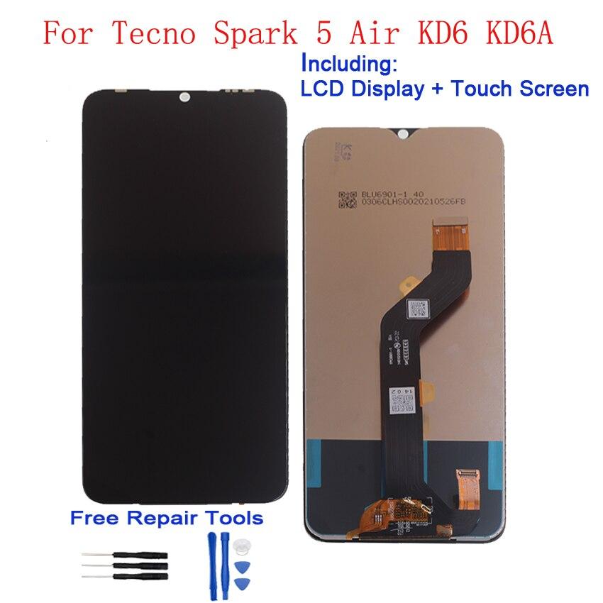 شاشة LCD ل Tecno شرارة 5 الهواء LCD عرض تعمل باللمس محول الأرقام الجمعية الهاتف KD6 KD6a إصلاح أجزاء