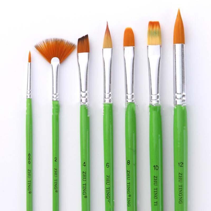7Pcs/set Nylon Hair Multifunction Brushes Gouache Watercolor Oil Brush Set Art Supplies