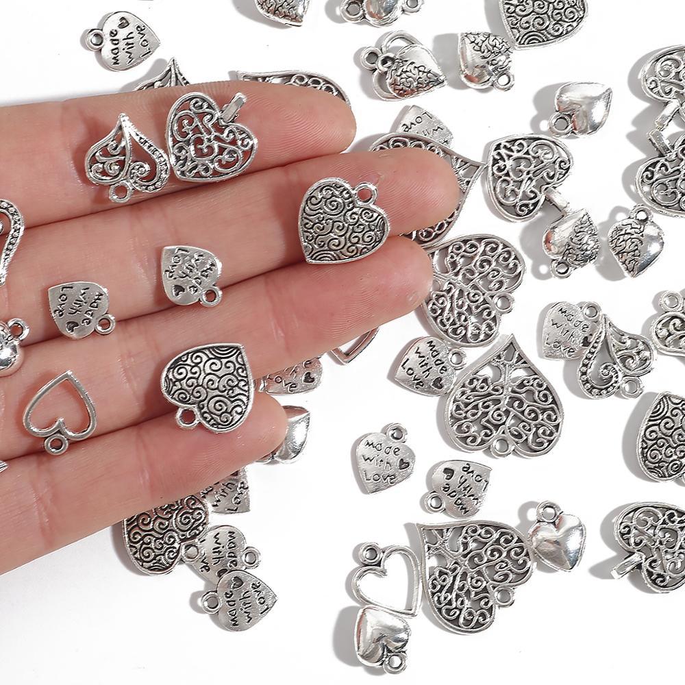 10-50 stücke Antike Charms Hohl Schöne Herz Silber Farbe Anhänger Für Schmuck Machen DIY Ohrring Halskette Armband Handmade handwerk