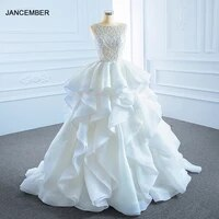 rsm66720 2021 elegant white transparent lace bridal wedding dress frill backless lace up design formal party gown