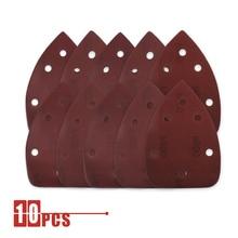 10 Uds 140*90 papel de lija autoadhesivo de 6 agujeros lijadora triangular gancho de papel disco de lijado herramientas abrasivas para pulir arena