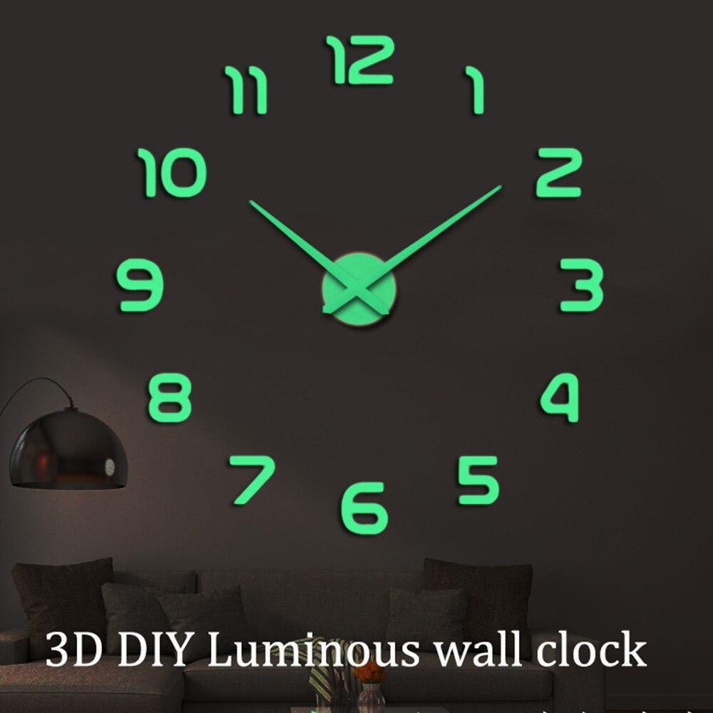 Relógios de parede luminosos grande 3d diy relógio acrílico espelho adesivos de parede sala estar quartzo agulha horloge decoração para casa reloj pared