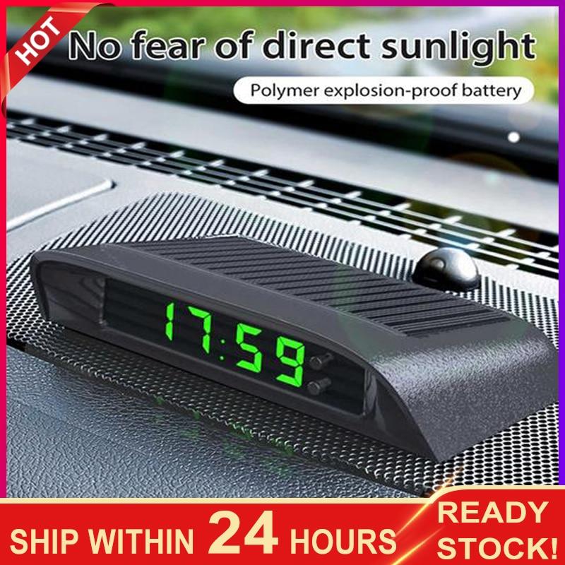 Portable Solar Car Digital LCD Clock & Temperature Display Auto Dashboard Clocks Backlight Electronic Screen Temperature Clock