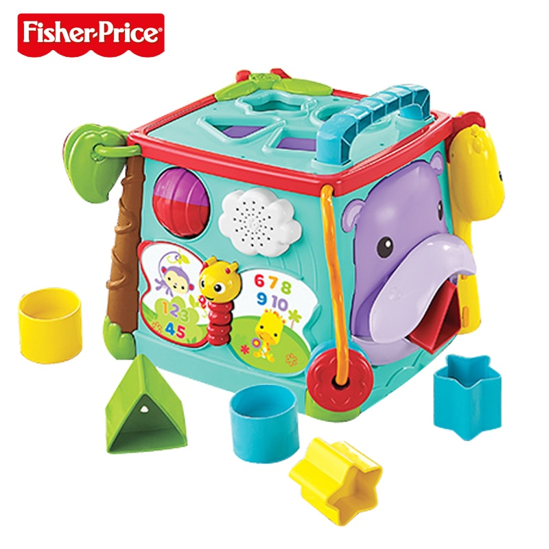 Original Fisher Price Brand baby learning toys Play&Learn Activity Cube Busy Box Educational Toys For Children kid Birthday Gift