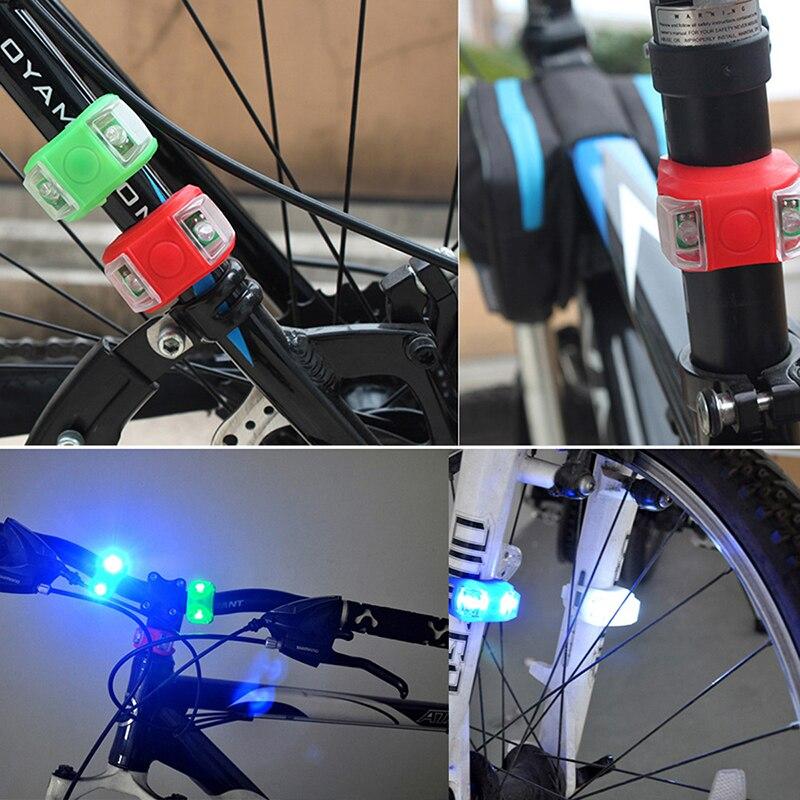 Luz delantera de la bicicleta cabeza de silicona LED rueda delantera trasera Luz de bicicleta impermeable advertencia ciclismo lámpara bicicleta Reflector Accesorios