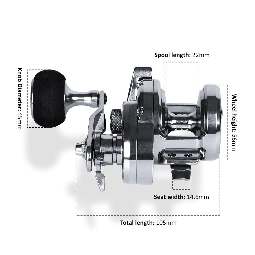 Big Drag Power 15/20kg Slow Jigging Reel for Fishing Saltwater Boat Trolling Aluminum Baitcasting Drum Reels enlarge