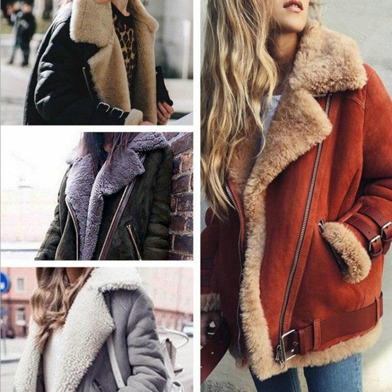 Mulheres casacos de inverno da motocicleta camurça camurça cordeiro turn down collar parkas plus size grosso zíper moda feminina pele parka