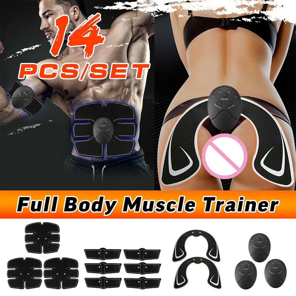 14 pçs treinamento abdominal bumbum levantamento de quadril braço treinador perda de peso corpo inteiro massageador exercício ems estimulador muscular conjunto elétrico
