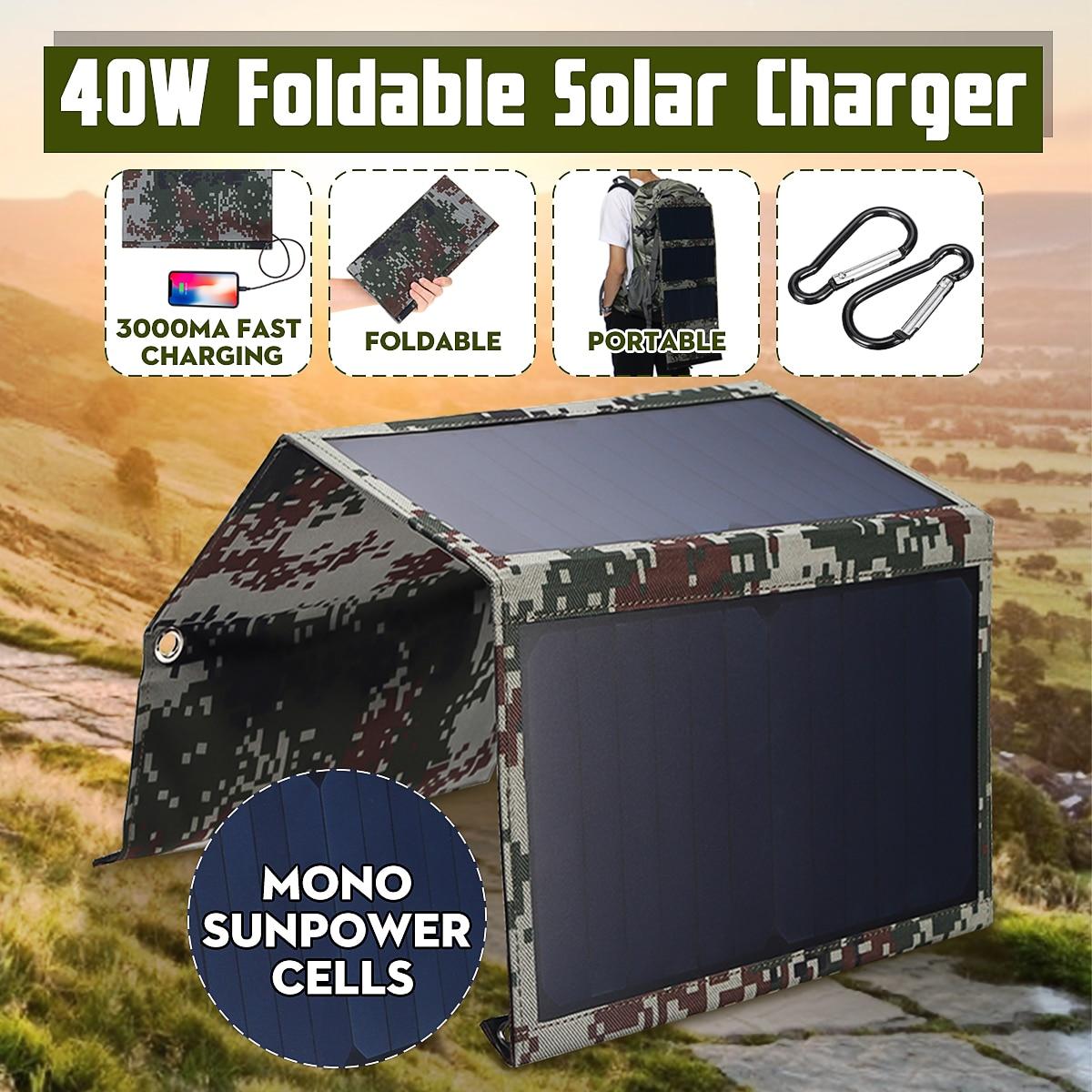 Venta caliente 40W 5V plegable camuflaje Solar células solares Panel Solar paquete Banco Dual USB impermeable para mochila camping de senderismo