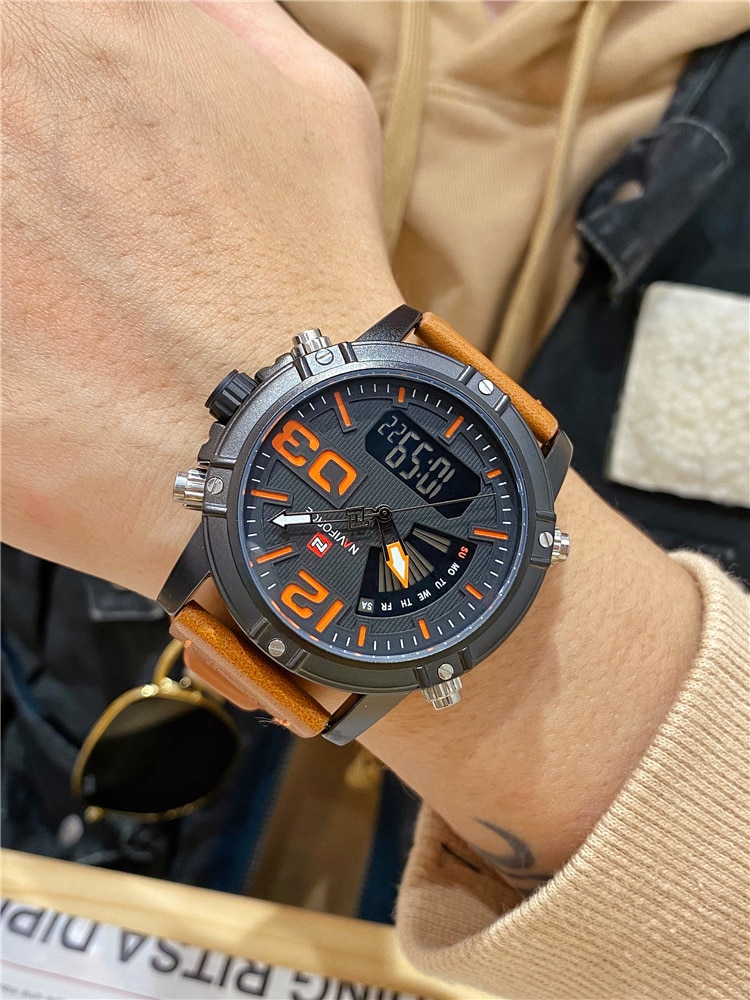 Men's Belt Watch Fashion Trend Large Dial Military Watch Outdoor Multi-functional Sports Waterproof Watch Authentic enlarge
