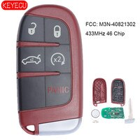KEYECU Red Smart Remote Key 433MHz 5 Button for Chrysler 300 Dodge Challenger Charger Dart Durango 2011-2017 FCC: M3N-40821302