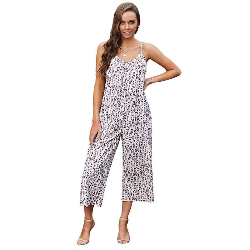 Figure Color Fashion 2021 Summer Womens Sexy Jumpsuit Floral Loose Halter To Show Your Beauty