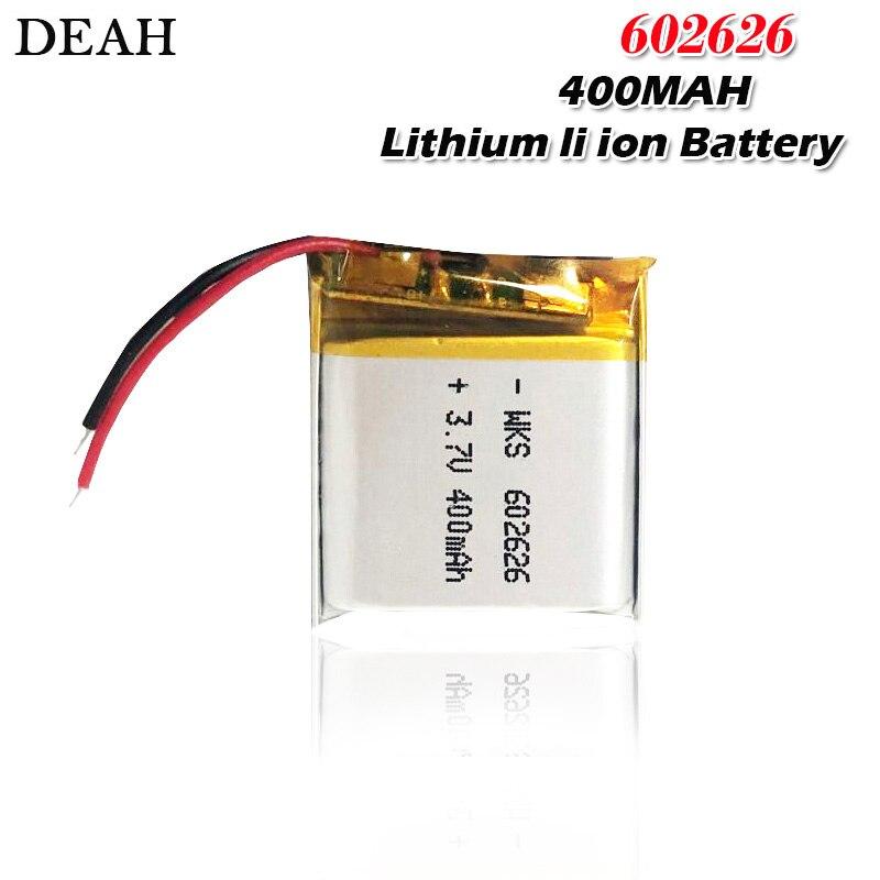3,7 V 400mAh 602626 polymer lithium-li ionen Akku Für LED licht Tachographen Auto DVR Bluetooth Kopfhörer MP3 MP4