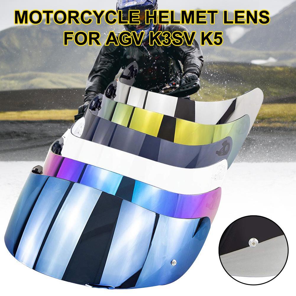 Casco de cara completa de motocicleta gafas Visor de lente con bloqueo de Pin para AGV K1 K3SV K5 2019