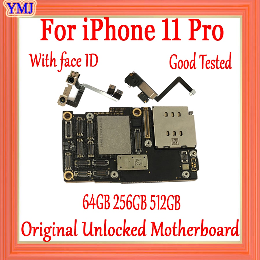 Review Full Unlocked Motherboard For iPhone 11 Pro With/Without Face ID With Free iCloud IOS Original Logic Board 100% Tested