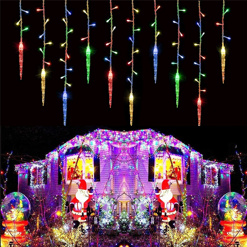 Street House Garlands Christmas Decorations For Home Outdoor Festoon Led Icicle String Lights Droop