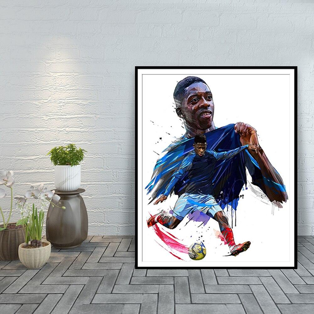 Ousmane-Cuadro de fútbol de pared Dembele, decoración del hogar, pósteres e impresiones...