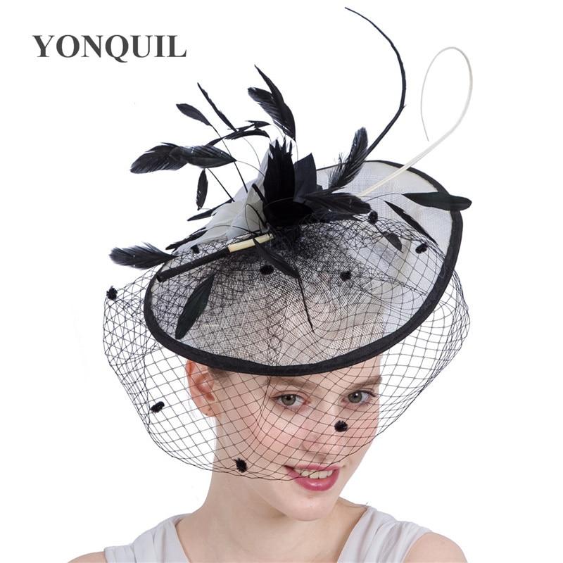 كبيرة الزفاف Fascinator القبعات أنيقة النساء السيدات الريشة الشعر Fascinator الحجاب نقطة خوذة ل سباق العام الجديد الفاتحة قبعات