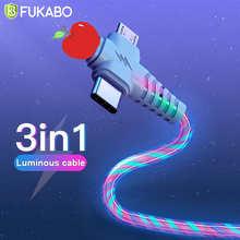 Светящаяся светодиодная подсветка Быстрая зарядка Usb кабель для iPhone Xiaomi Redmi Samsung Huawei Micro USB Type C iOS зарядный кабель