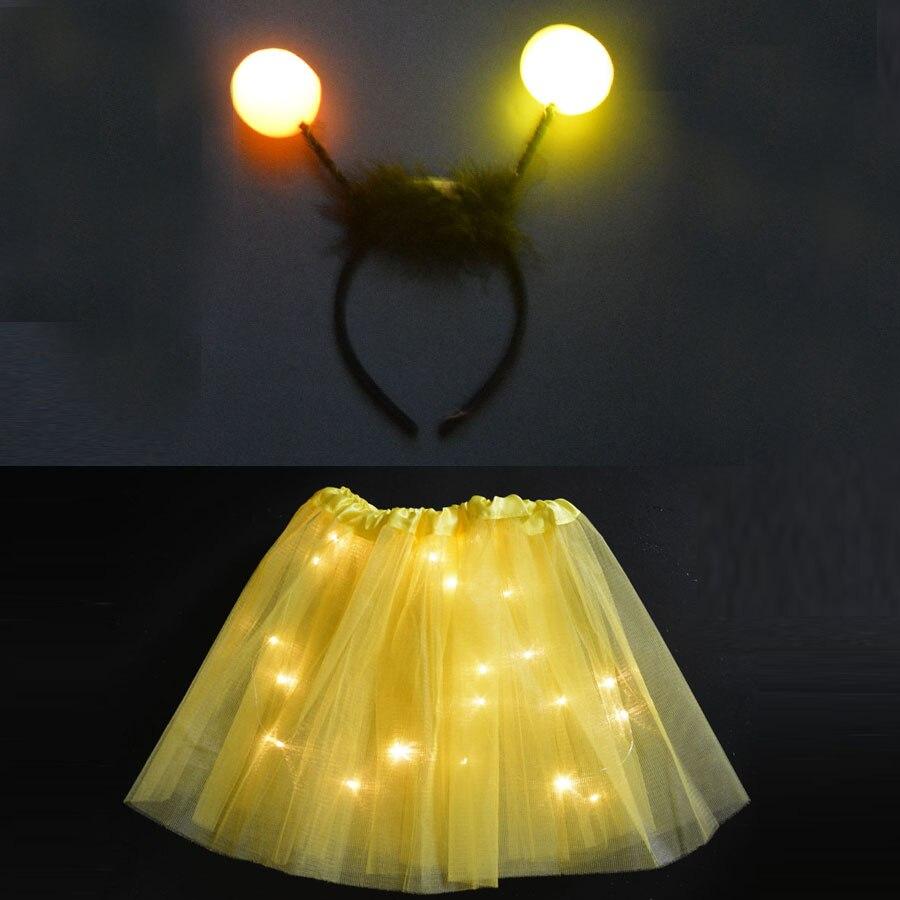 Brillante LED luz mujer chica amarillo abeja traje cumpleaños fiesta falda diadema boda, Halloween navidad