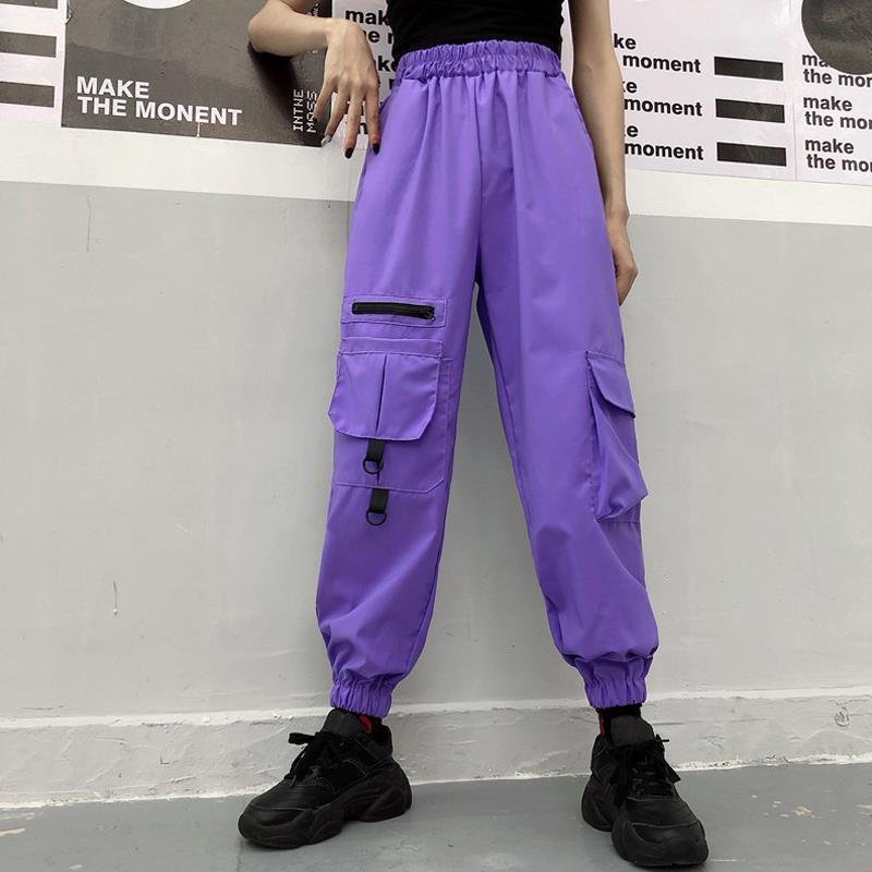 Streetwear Hip Hop Purple Cargo Pants Joggers Pants Big Pockets Women High Waist Loose Black Harem Pants Baggy Tactical Trouser