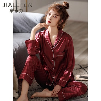 Pajamas Women's Spring and Autumn Artificial Silk Long-Sleeved Home Wear Thin Ice Silk Spring and Summer Bright Red Birth Year