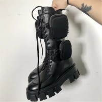 fashion womens boots luxury brand thickened mid tube boots thick soled womens boots zipper pocket bag motorcycle rider boots b