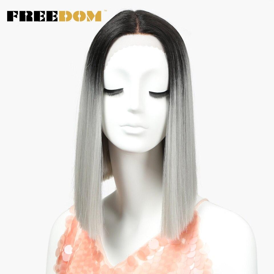 Прямые Синтетические кружевные парики FREEDOM с T-Part, 14 дюймов, черные, женские, Ombre, серебристые, серые, карнавальный парик, бесплатная доставка