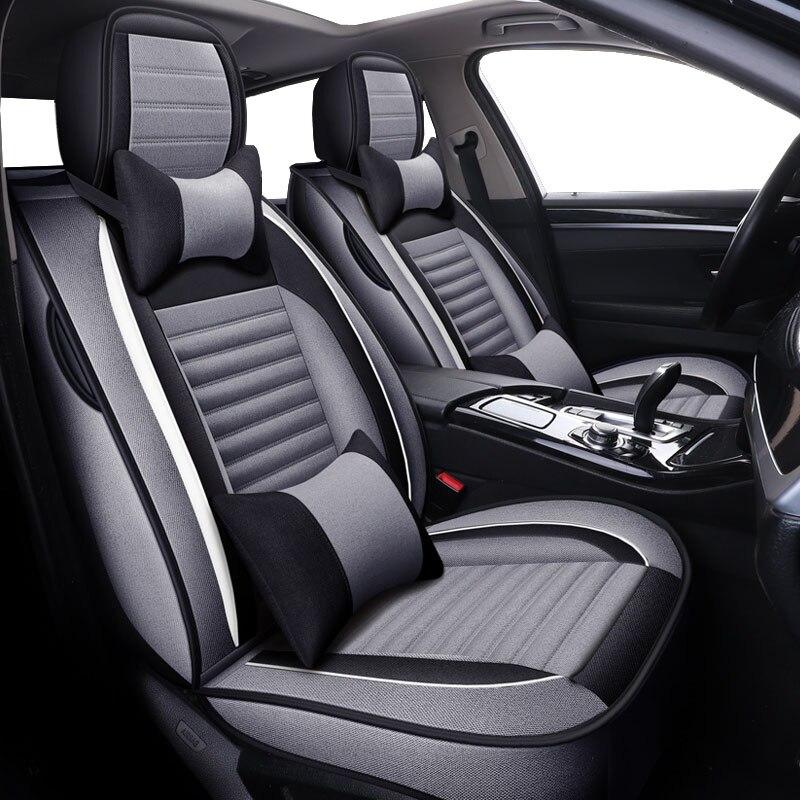 Cubiertas universales de lino para asiento de coche para Lada kalina 1 2 largus priora vesta xray,byd f3 f6 g3 g6 l3 s6 de 2018 2017 2016 2015