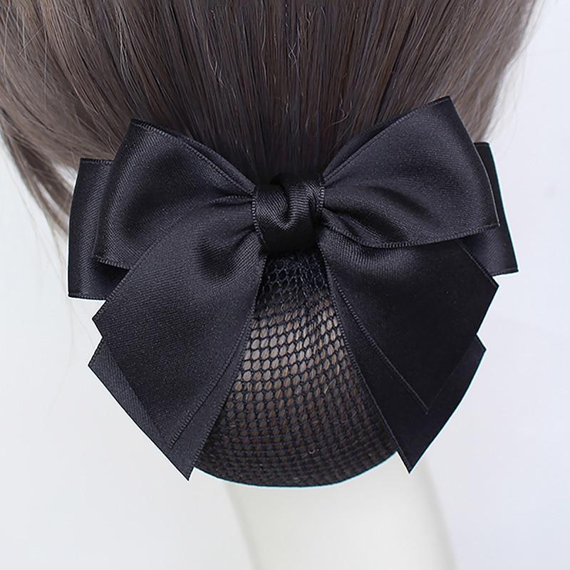New Ribbon Bow Hairgrips Weave Bun Net Snood Bow Hair Clips Lace Bow Hair Net Hair Bun Office Lady B