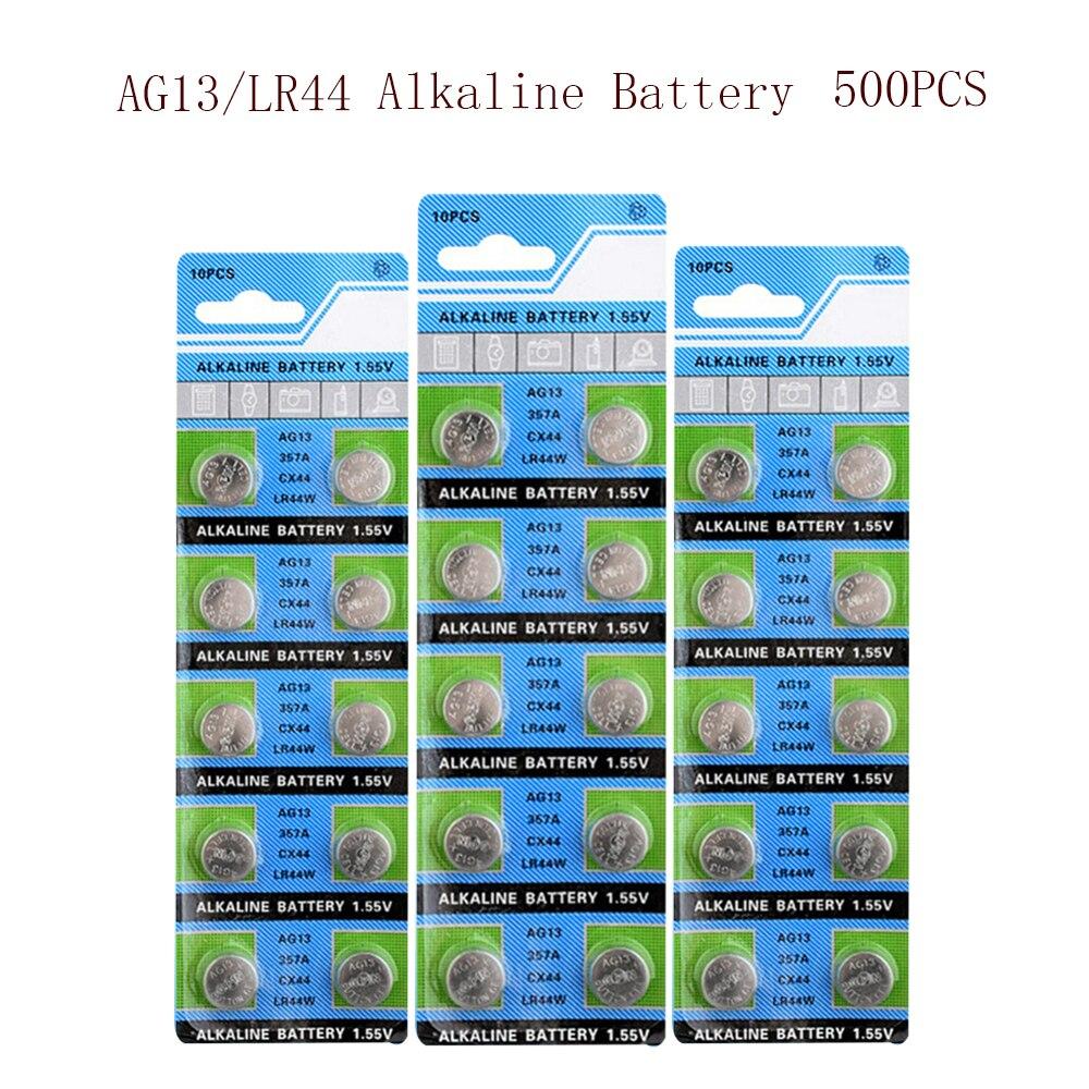 Bateria de Célula tipo Moeda Baterias para Relógio 13 Lr44 L1154 Rw82 Rw42 Sr1154 Sp76 Pila Sr44 Botão Ag13 1.55v 500pcs 30mah ag