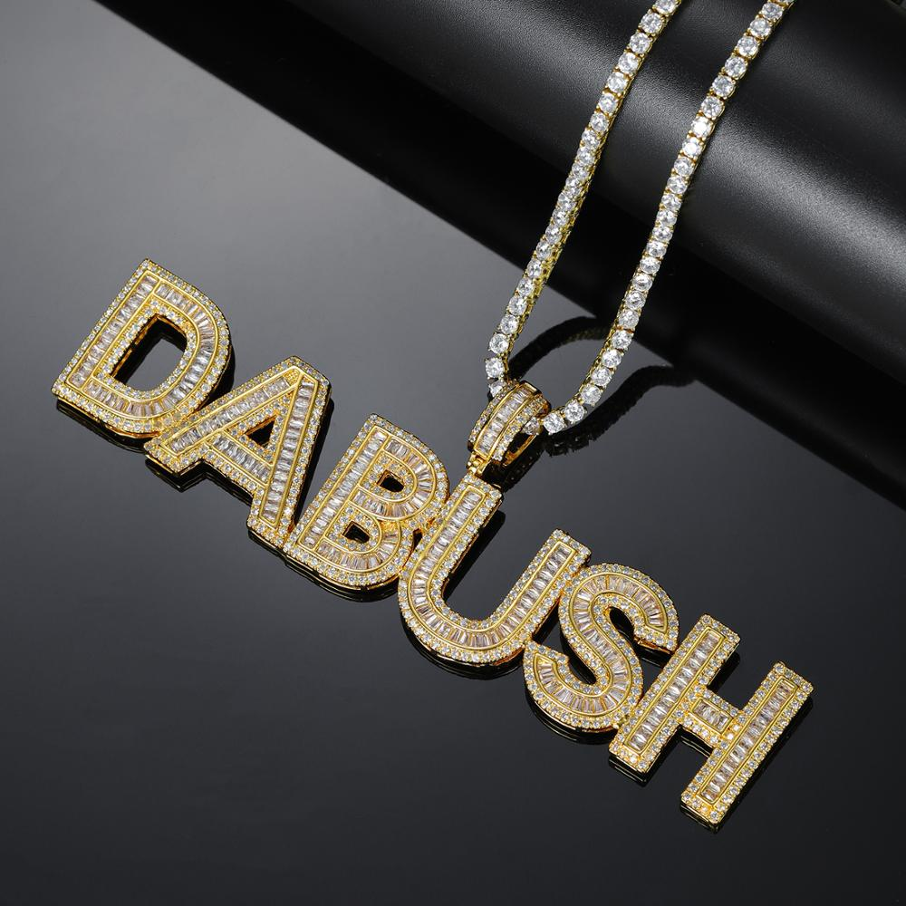 New Custom Name Iced Out Cubic Zirconia Letters Pendant Necklace Bling Hip Hop Jewelry For Women Men Gift