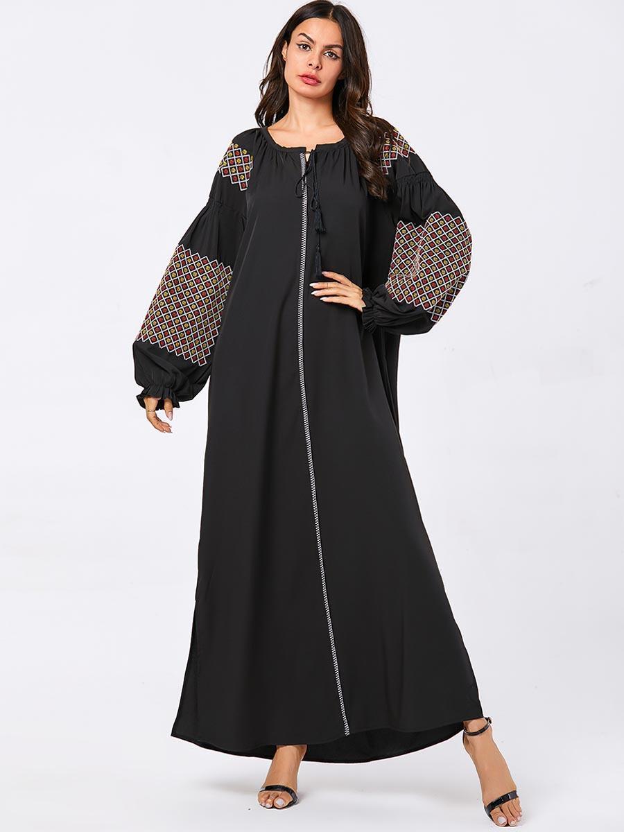 Caftán Abaya de Dubái para mujer, vestido largo musulmán de manga abombada,...