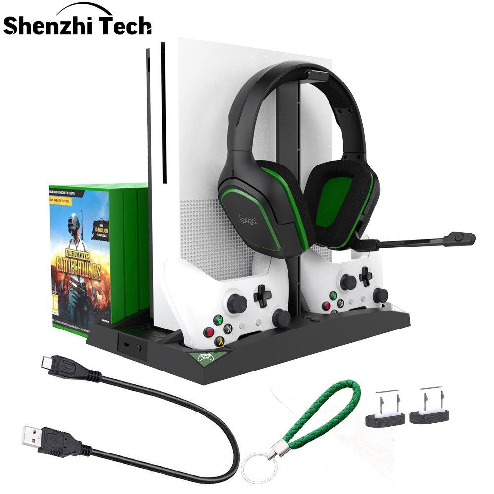 Soporte Vertical PS4 xbox one base de controlador de carga con controlador de ventilador de refrigeración cargador estación de carga soporte de auriculares