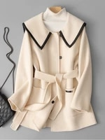 high end double faced cashmere overcoat womens small short 2021 autumn and winter new navy collar waist woolen jacket