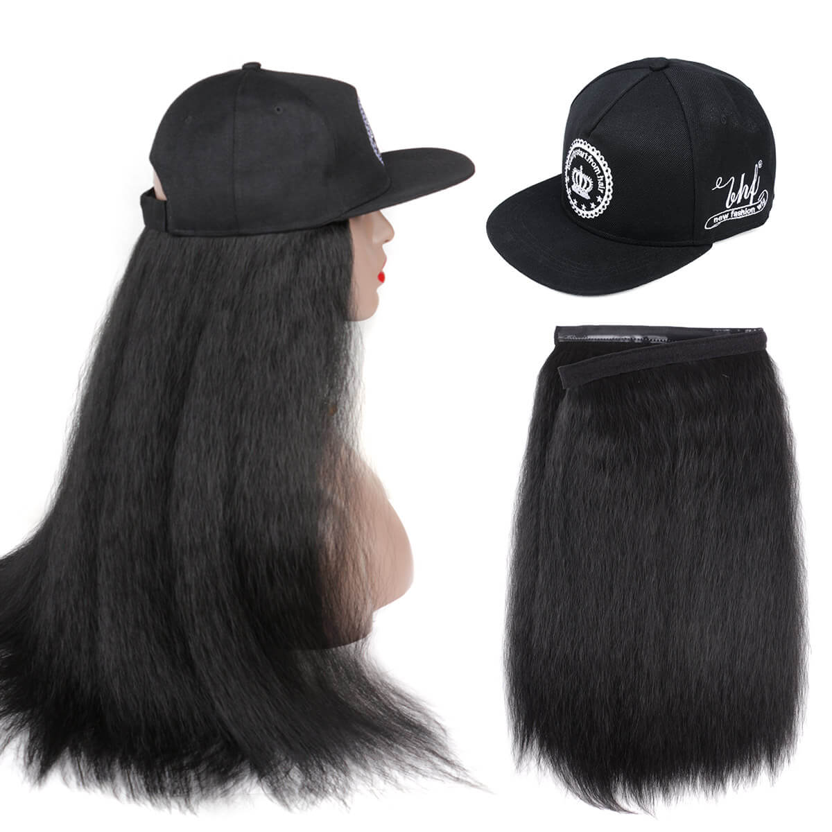 Long Yaki Straight Synthetic Baseball Hair Wig Natural Black Wigs Naturally Connect Hat Wig Adjustable For Girl Fashion Icon