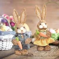 Lapin en paille artificielle  decoration de maison  jardin  theme de paques  Simulation de lapin  decoration de bureau  Figurines