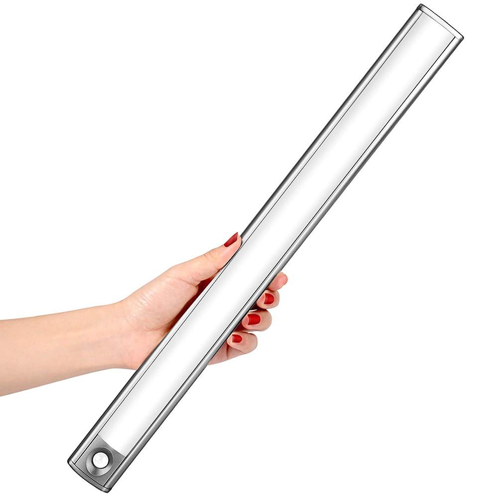 USB recargable 15/33 luz LED para debajo de gabinete PIR Sensor de movimiento lámpara de noche armario lámpara de cama para armario escaleras Cocina