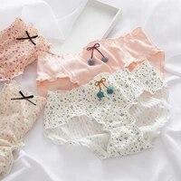 ladies comfortable cotton underwear underwear hollow mesh panties pure cotton women briefs simple mid waist ruffle
