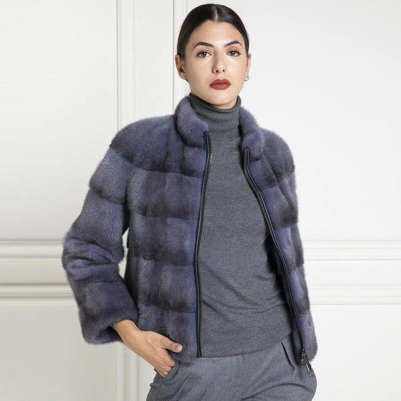 المرأة قصيرة حقيقية فرو منك معطف مع الوقوف طوق جودة عالية 2021 موضة جديدة الأزرق الداكن حقيقي فرو منك سترة الإناث أبلى