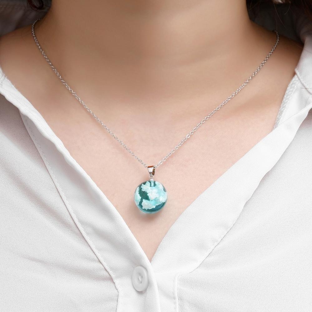 Naturaleza cielo azul joyas nube blanca resina transparente damas collar joyas regalo...