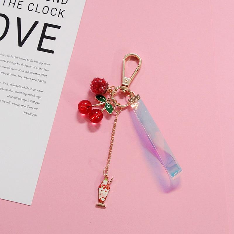 1PC Laser Ribbon Beautiful Cherry Keyrings Bag pendant Charm dangle keyring marine shell pearl keychain stunning keyrings